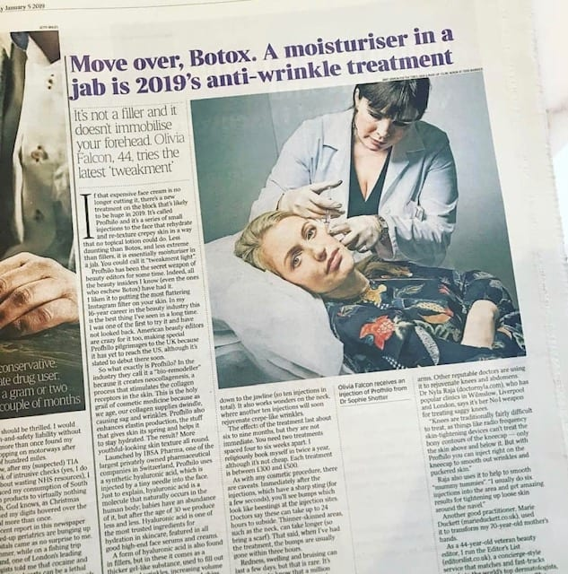 Dr Sophie featured in Times on Saturday Profhilo article